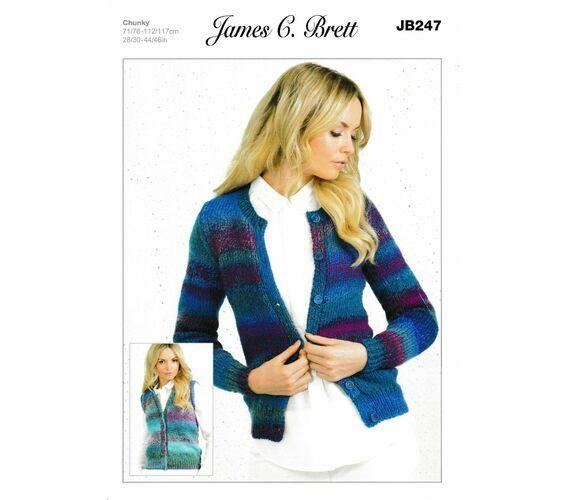 James C Brett Knitting Pattern Marble Chunky Womens Cardigan Waistcoat JB247 6fe13e9b9