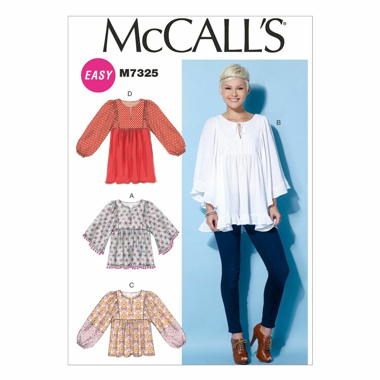 McCall\'s Sewing Pattern M7325 (Misses Tops & Tunic) from £9.75