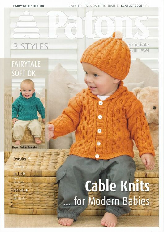 Patons Cable Knits For Modern Babies Knitting Pattern Only 180