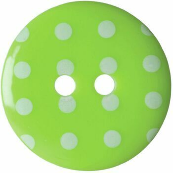 Hemline Lime Green Button with White Spots: 17.5mm: Pack of 4