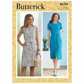 Butterick Pattern B6725 Neck Slit Dresses