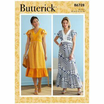 Butterick Pattern B6728 V-Neck Dresses