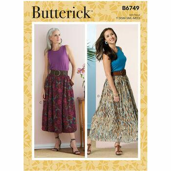 Butterick Pattern B6749 Misses Gathered-Waist Skirts