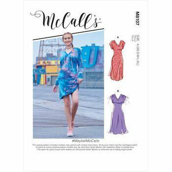 McCall\'s Pattern M8107 Misses V-Neck Pull-Over Knit Dresses