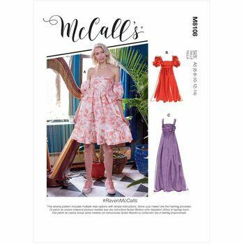 McCall's Pattern M8108 Misses Empire Seam Gathered Dresses