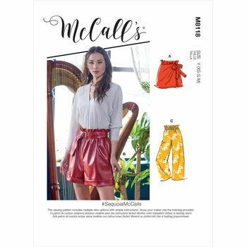 McCall's Pattern M8118 Misses Shorts, Pants & Belt