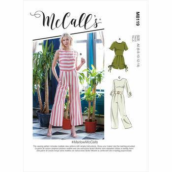 McCall's Pattern M8119 Misses Romper, Jumpsuits & Belt