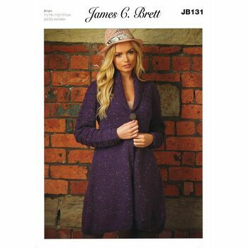 James C Brett Aran Knitting Pattern JB131 Ladies Cardigan