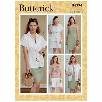 Butterick Pattern B6774 Misses; Jacket, Sash, Dress, Top and Shorts