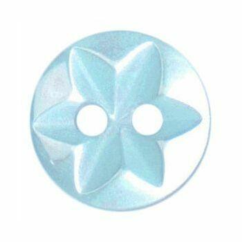 Polyester Star Button - 10mm (Light Blue)
