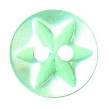 Polyester Star Button - 10mm (Light Green)