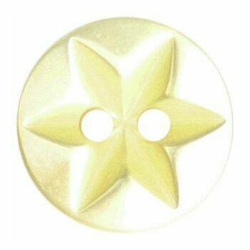 Polyester Star Button - 10mm (Light Yellow)