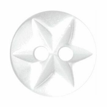 Polyester Star Button - 10mm (White)