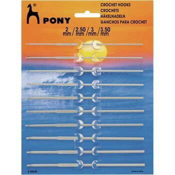 Pony Aluminium Crochet Hooks (10 Assorted Sizes) - 2.00 - 3.50mm