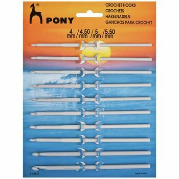 Pony Aluminium & Plastic Crochet Hooks (10 Assorted Sizes) - 4.00 - 5.50mm