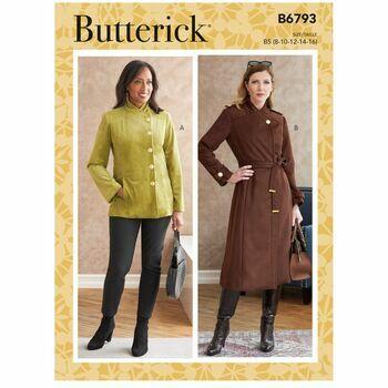 Butterick Pattern B6793 Misses Jacket, Coat & Belt