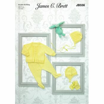 Brett DK JB556 Baby Matinee Coat & Accessories Pattern