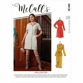 McCalls Pattern M8139 Misses Dresses & Belt