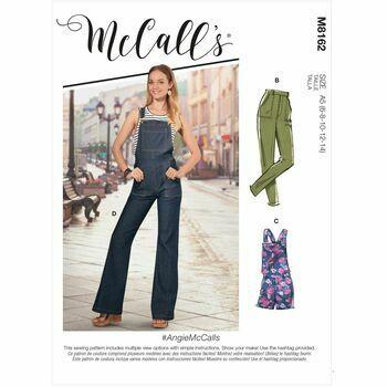 McCalls Pattern M8162 Flared Jeans, Overalls, Skinny Jeans & Shortalls