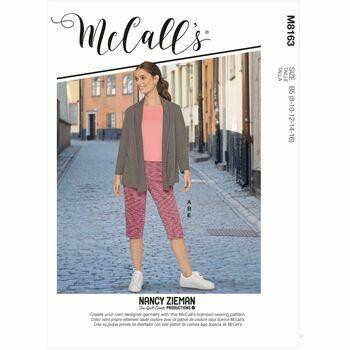 McCalls Pattern M8163 Knit Shawl Collar Jacket, Tops, Skirt & Pants