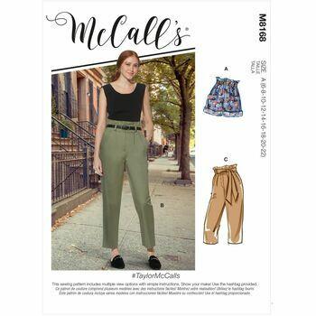 McCalls Pattern M8168 Misses Shorts, Pants & Sash