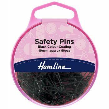 Hemline Black Safety Pins - 19mm (50 Pieces)