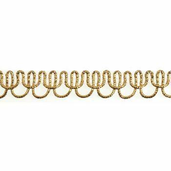 Essential Trimmings Loop Edged Braid Trimming - 12mm (Gold) Per metre
