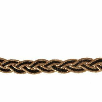 Essential Trimmings Metallic Rayon Braid Trimming - 10mm (Black/Gold) Per metre