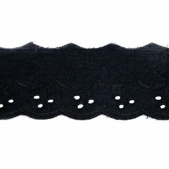 Essential Trimmings Broderie Anglaise Lace Trim - 50mm (Black) Per metre