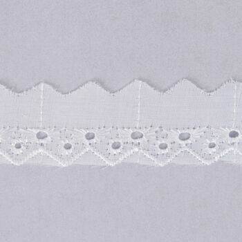 Essential Trimmings Broderie Anglaise Lace Trim - 25mm (White) Per metre