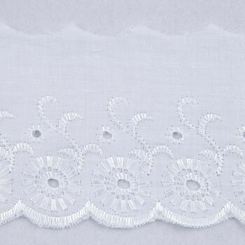 Essential Trimmings Broderie Anglaise Lace Trim - 75mm (White) Per metre