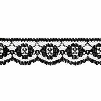 Essential Trimmings Lace Nylon Rayon Embroidery on Tulle - 25mm (Black) Per metre