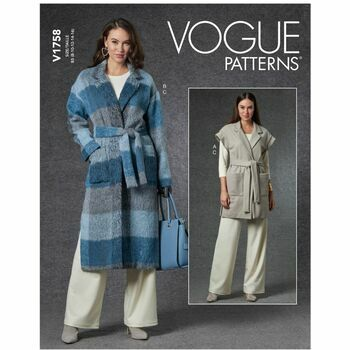 Vogue pattern V1758 Misses Vest, Jacket, Belt & Pants