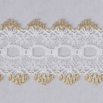 Essential Trimmings Eyelet Knitting In Lace Trimming - 30mm (Gold) Per metre
