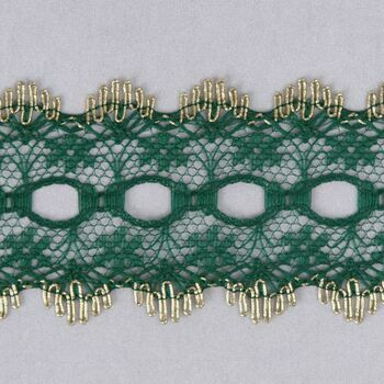 Essential Trimmings Eyelet Knitting In Lace Trimming - 30mm (Green with Gold Edge) Per metre