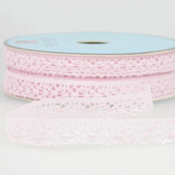 Stephanoise Polyester Lace Trim - 15mm (Light Pink) Per metre