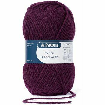 Patons Wool Blend Aran Yarn (100g) - Wine (Pack of 10)