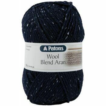 Patons Wool Blend Aran Yarn (100g) - Navy Tweed (Pack of 10)