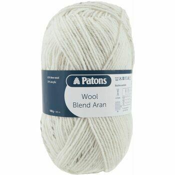 Patons Wool Blend Aran Yarn (100g) - Natural (Pack of 10)