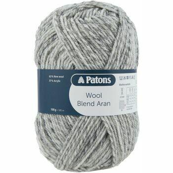 Patons Wool Blend Aran Yarn (100g) - Grey Mix (Pack of 10)