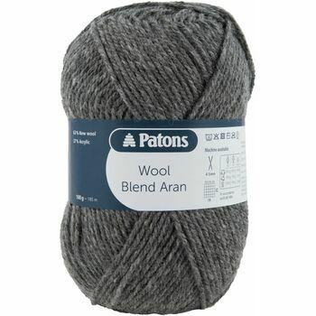 Patons Wool Blend Aran Yarn (100g) - Steel Grey (Pack of 10)
