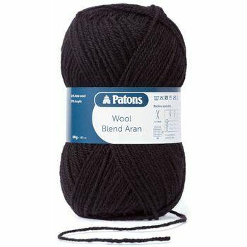 Patons Wool Blend Aran Yarn (100g) - Black (Pack of 10)