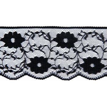Essential Trimmings Nylon Lace Trimming - 60mm (Black) Per metre