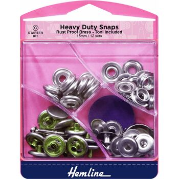 Hemline Heavy Duty Snaps - Nickel (15mm)