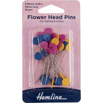 Hemline 54mm Flower Head Pins (36pcs)