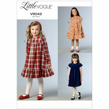 Vogue Pattern V9042 Children's/Girls' Gathered Cap Sleeve Dresses