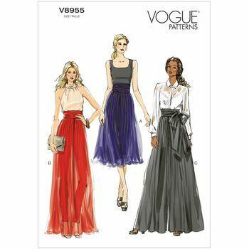 Vogue Pattern V8955 Misses' Wide-leg Pleated Pants