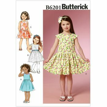 Butterick Pattern B6201 Children's/Girls' Gathered-Skirt Dresses