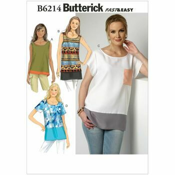 Butterick Pattern B6214 Misses' Contrast-Band Tops