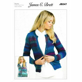 James C Brett Chunky Knitting Pattern JB247 (Womens Cardigan)